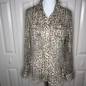 Lucky Brand Semi Sheer Leopard Button Down Shirt